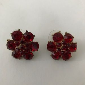 Jewelry - Red Ruby Crystal Earrings Floral